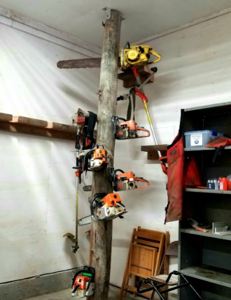 Tanya thought this was a unique way to store chainsaws in the supply room and wants to store them like this in the future!