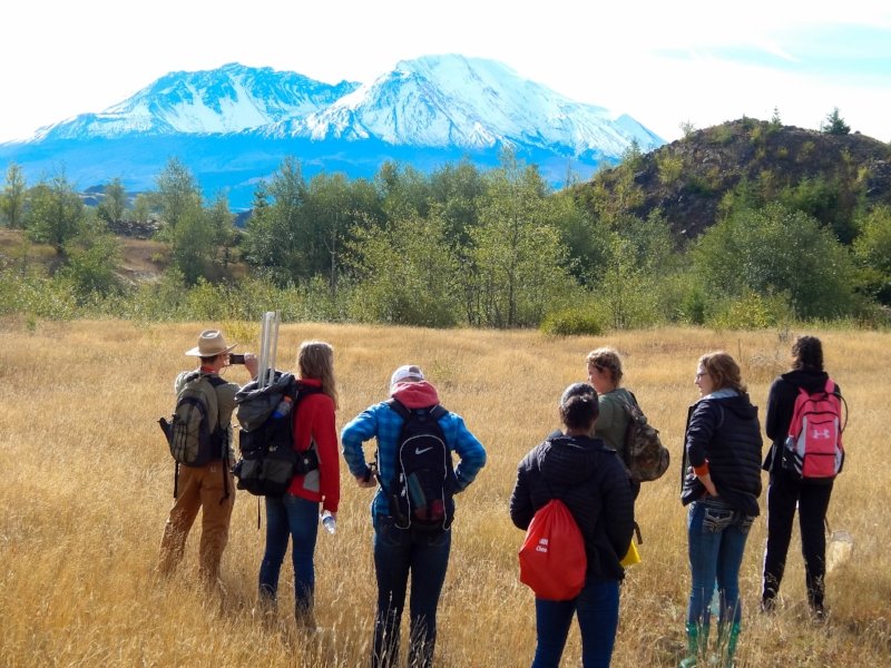 Ryan Penner's Castle Rock High School students studying terrestrial habitat at Mt. St. Helens.