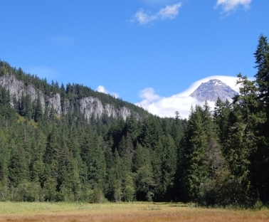 Nisqually Glacier rests in the Mount Rainier National Park