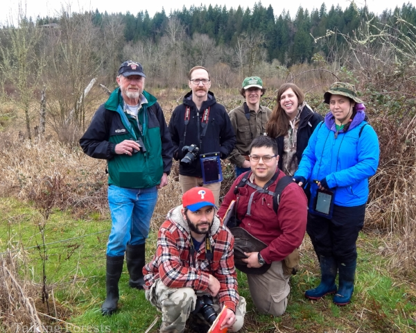 A group picture after Nature Mapping with fellow Nisqually Land Trust volunteers.
