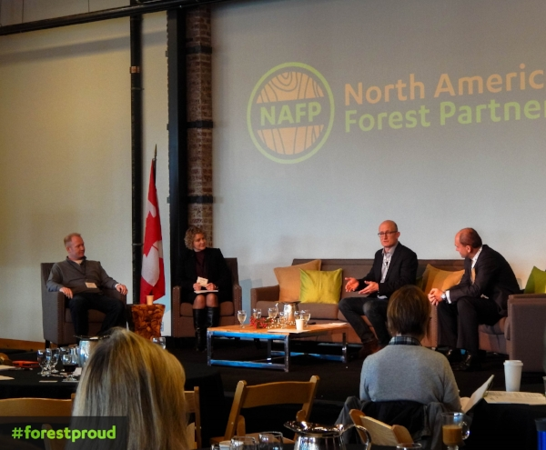 From left to right: Russ Vaagen, Vaagen Timbers, Cathy Enright, Will Novy-Hildesley, and Thomas Meth, Enviva Biomass.