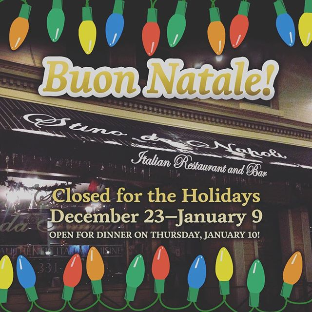 #buonnatale friends! 🇮🇹 Our restaurant is closed for the holidays but we hope you will join us when we reopen on January 10. Many blessings to you and yours! . . . #happyholidays #stinodanapoli #stinofoods