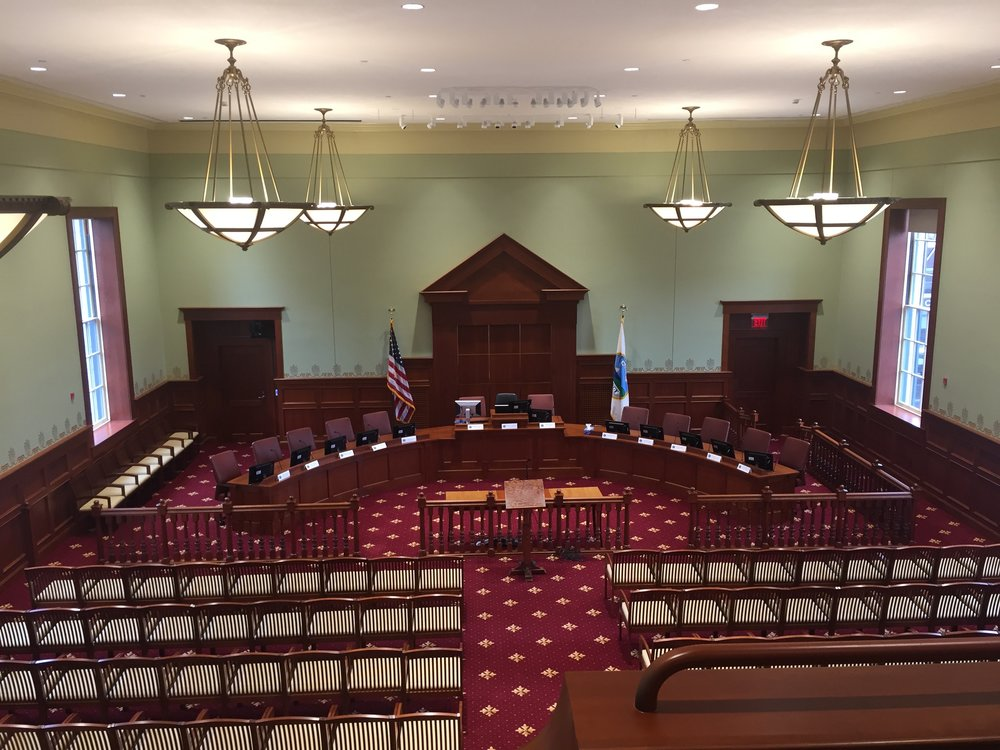 Renovated City Hall Chambers.