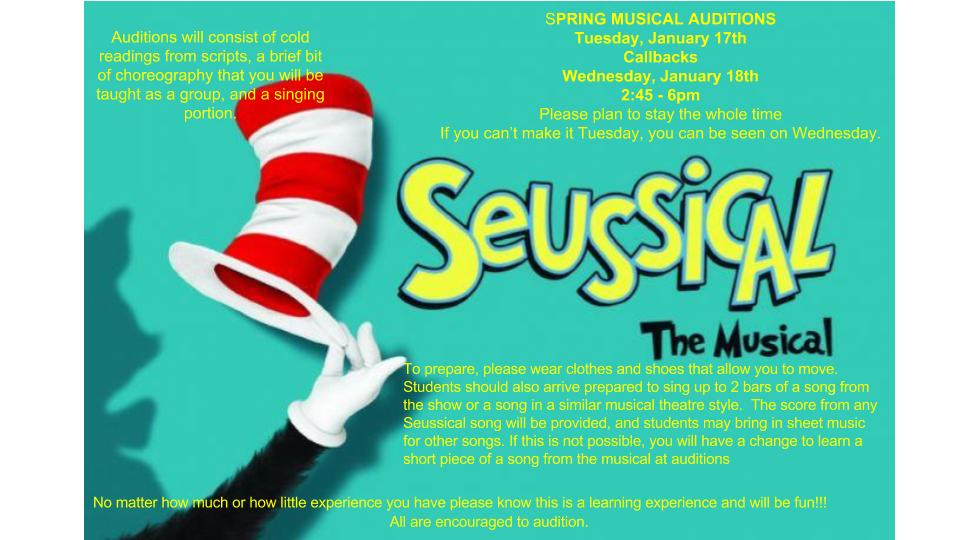 Woodward's spring theater production is Seussical The Musical! Auditions are TODAY 2:45 - 6 PM, with callbacks TOMORROW, the 18th.  Students should be prepared to sing up to 32 bars of a song from the show or another of similar style. Join for a great theater experience!