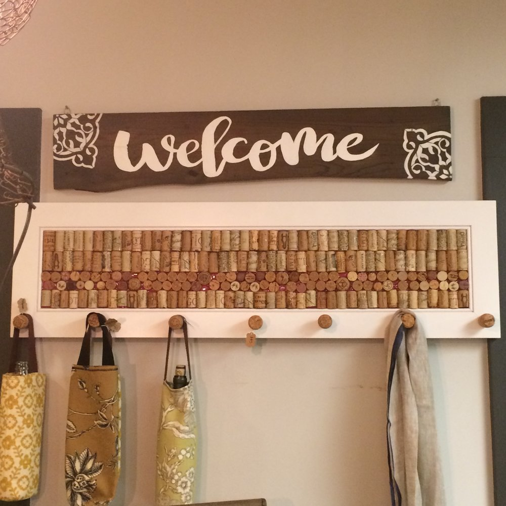 Welcome Sign & Wine Cork Coat Rack