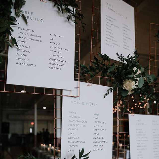 Seating chart on copper grids 🙌🏼 Yesss! Perfect for this industrial wedding in an old factory 👌🏼 // A+P // Photo by @naomiegagnonphotographe , flowers by @alavieauvert_creationsflorales, Planning and design by @heramariages // #industrialdesign #weddingstarionery #etsyshop #whitewillowpaperco #copper #modernwedding #montrealdesigner #graphicdesign #seatingchart #montrealwedding #instawedding #weddinginvitations