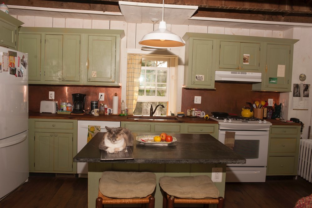 Another view of the renovated kitchen with Hannah, the cat, on her favorite perch.