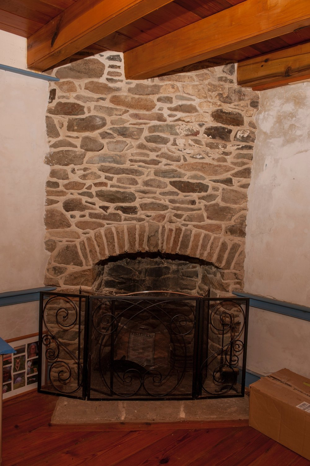 The kitchen fireplace.