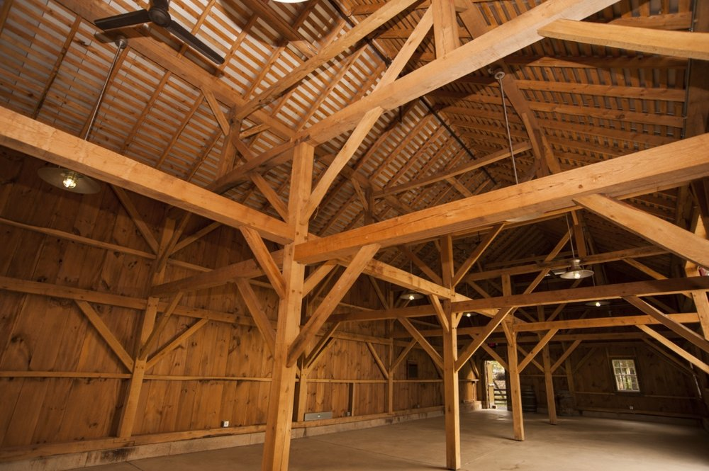Timber frame comes from an original bank barn on the property.