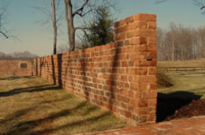 Cochran's restored brick walls at James and Dolley Madison's gravesite at Montpelier.