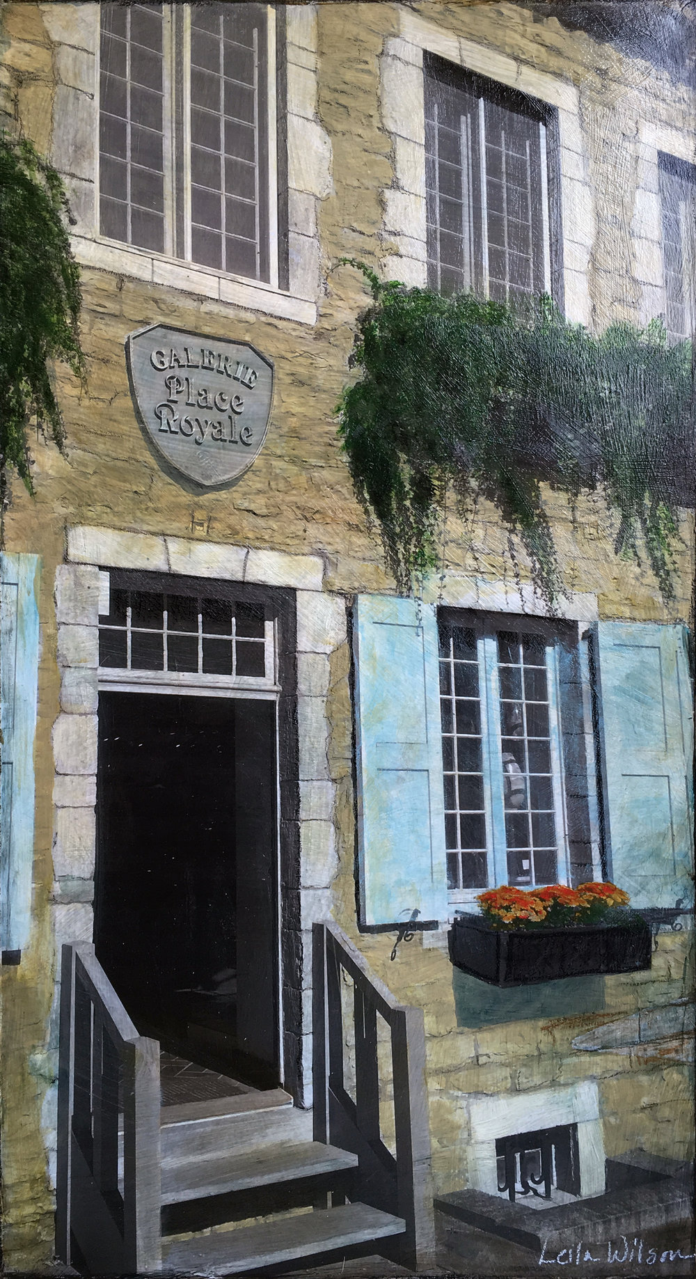 Travel Series: Old Quebec Galerie    Description: Mixed Media Original Painting on Wood Panel, Custom Reclaimed Wood Frame (24x48)  Private Collection
