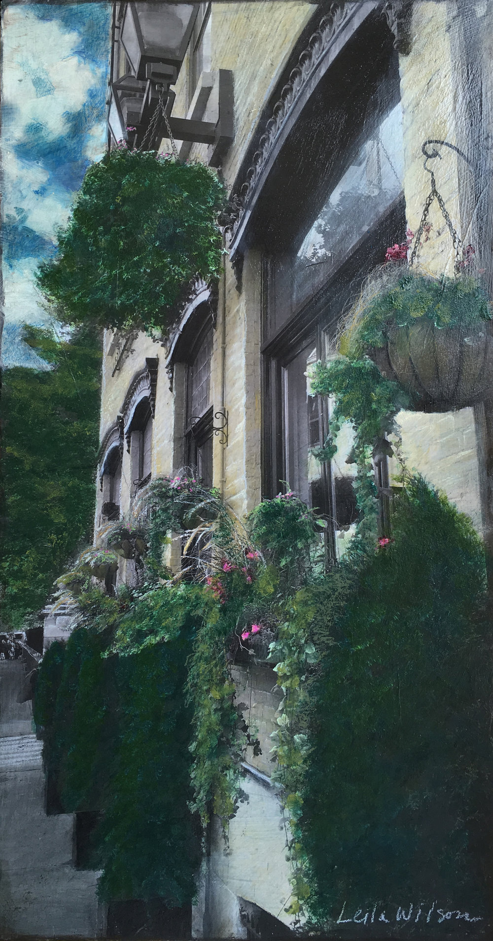 Travel Series: Old Quebec Garden Facade    Description: Mixed Media Original Painting on Wood Panel, Custom Reclaimed Wood Frame (24x48)  Private Collection