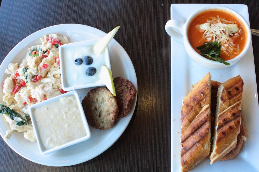 The Feel Good Plate + Grilled cheese & Tomato bisque