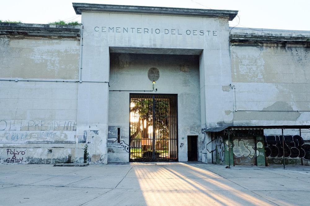 Chacarita Cemetery's corner gate, 2017.