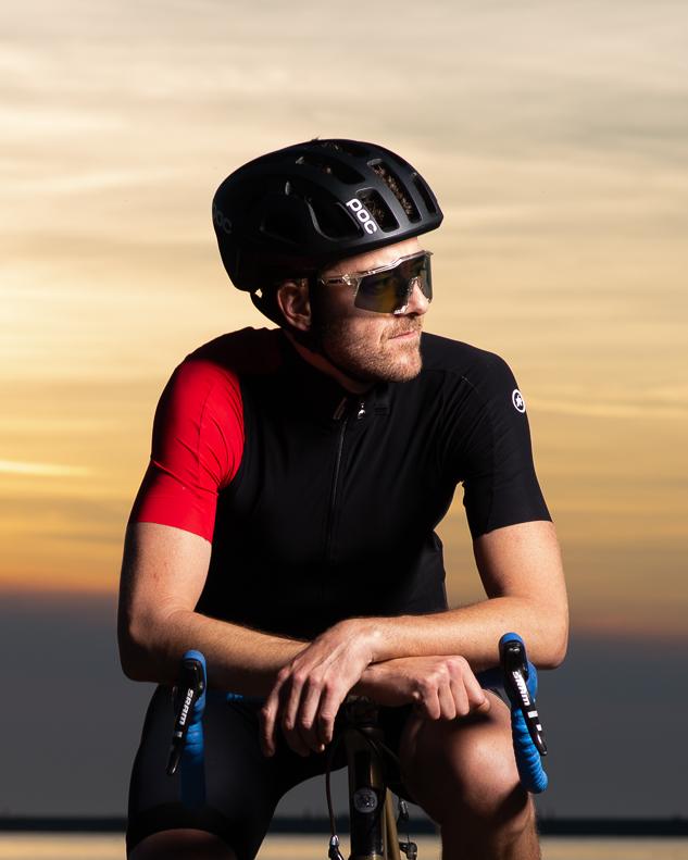 Portrait of a cyclist at Iona Beach, Richmond.