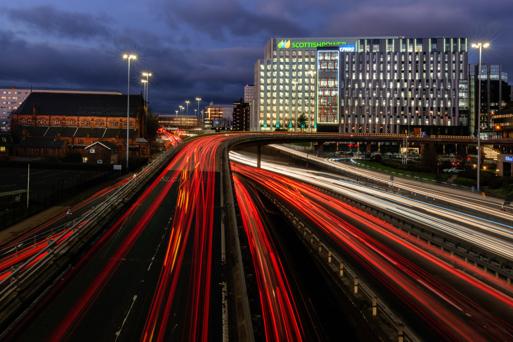 Glasgow Photography Traffic Light Trails