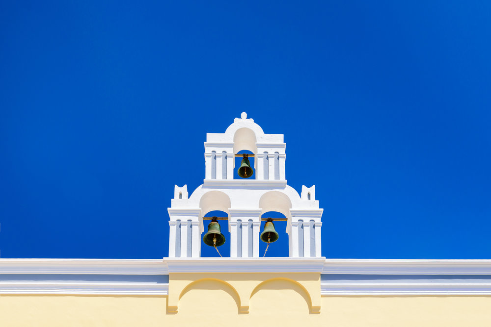 There are hundereds of these bell towers all across the Greek island of Santorini