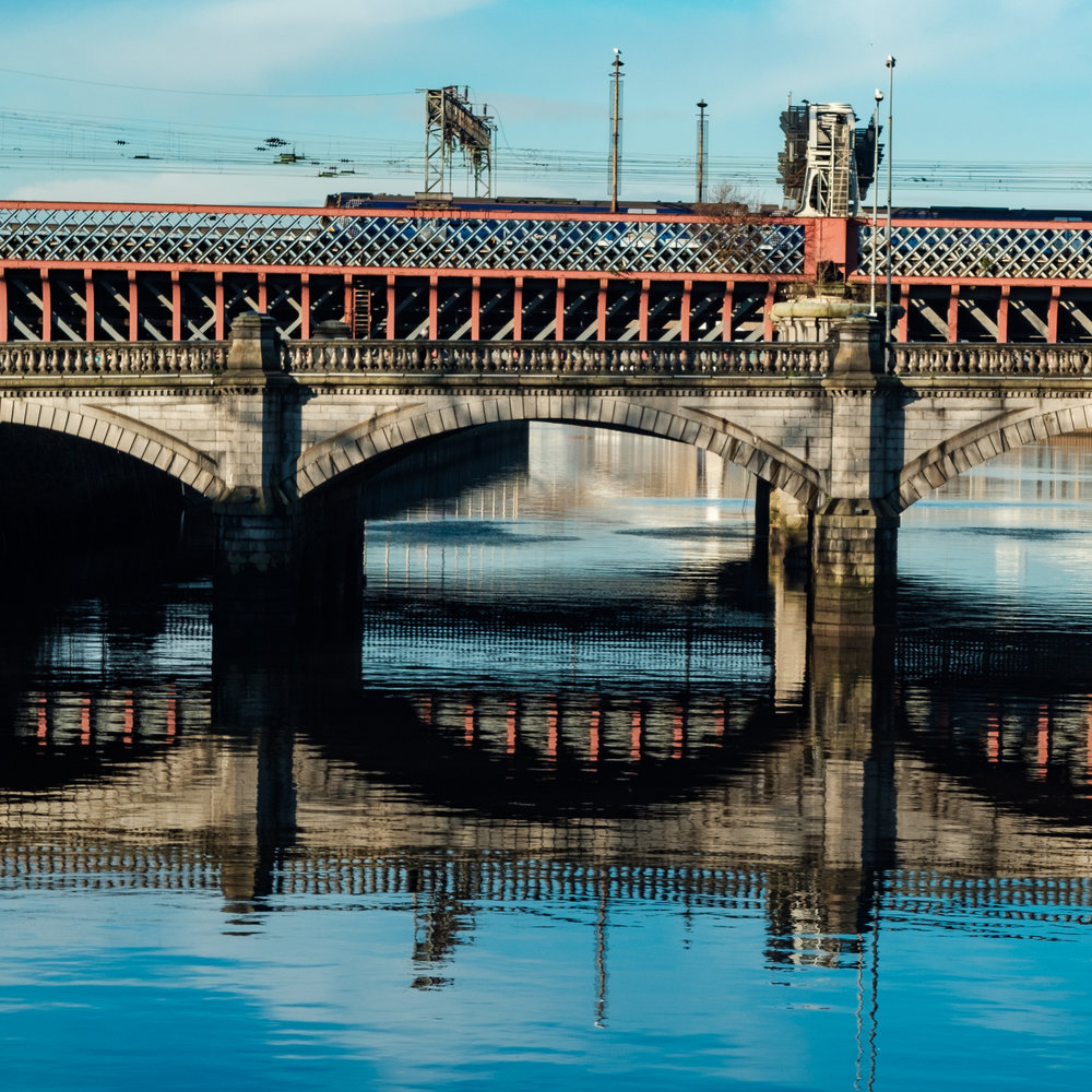 Bridges spanning the river Clyde in central Glasgow [XT2 / Classic Chrome]
