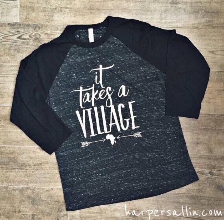 Harper family adoption ,two kids from Uganda  It takes a village t-shirt  https://www.etsy.com/shop/HarperTribe?ref=s2-header-shopname