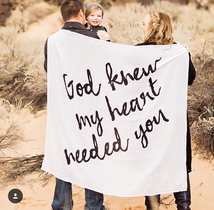 "The ""God Knew my heart needed you Swaddle"" a percentage goes to Morning Star Foundation http://modernburlap.com/collections/swaddles/products/organic-cotton-muslin-swaddle-blanket-god-knew-my-heart-needed-you"