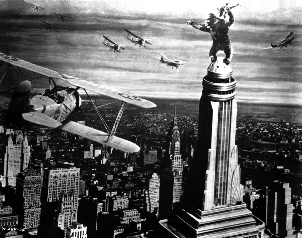 Figure 6: King Kong tries to fight off planes at the top of the Empire State Building in  King Kong .