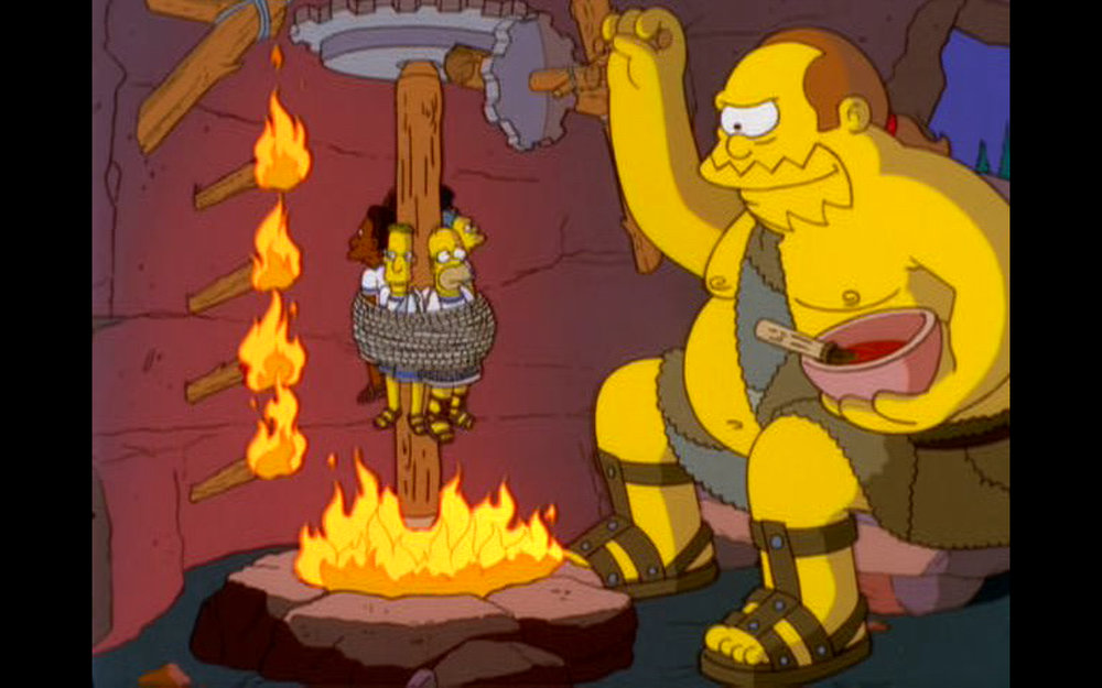 """Figure 1: Comic Book Guy-Polyphemus bastes Odysseus and his men with barbecue sauce in the  The Simpsons  episode """"From the Public Domain"""" (13.14). Image credit: screen capture (Gracie Films/20th Century Fox Company)."""