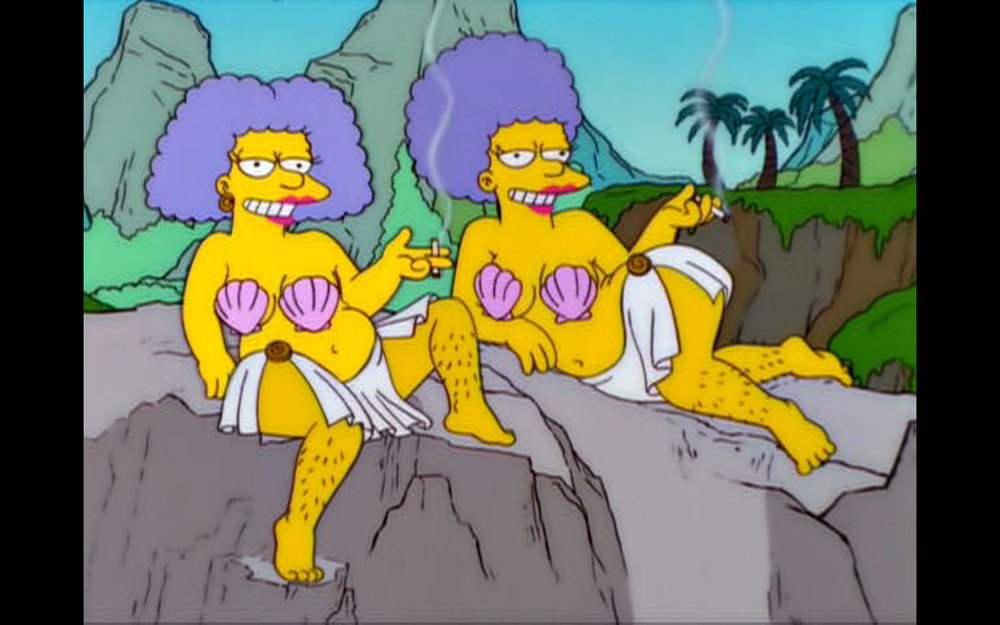 """Figure 2: Patty and Selma as unseductive Sirens n the  The Simpsons  episode """"From the Public Domain"""" (13.14). Image credit: screen capture (Gracie Films/20th Century Fox Company)."""