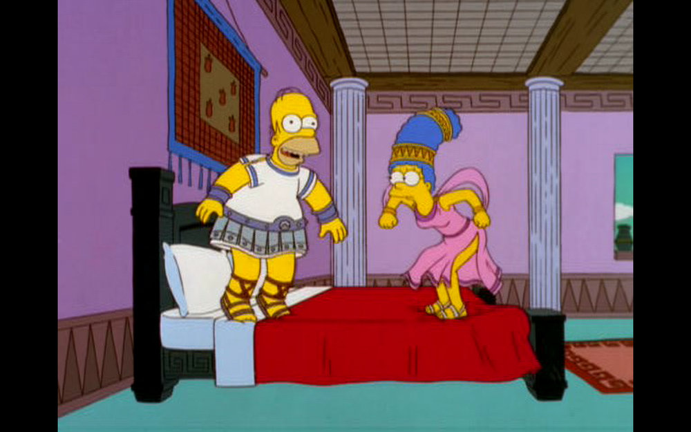 """Figure 4: Olivewood, scholivewood. Homer and Marge know the true test of the bed in the  The Simpsons  episode """"From the Public Domain"""" (13.14). Image credit: screen capture (Gracie Films/20th Century Fox Company)."""