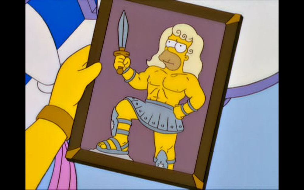 """Figure 5: I Can't Believe It's Not Homer! ™  Marge-Penelope admires a picture of Homer-Odysseus in his younger year in the  The Simpsons  episode """"From the Public Domain"""" (13.14). Image credit: screen capture (Gracie Films/20th Century Fox Company)."""