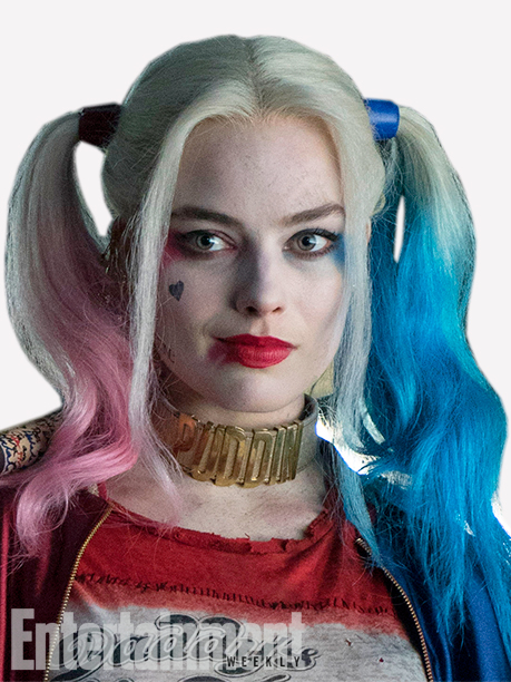 """Figure 3: In a close-up shot of Harley Quinn from Suicide Squad, we can clearly see """"Puddin"""" on her collar."""