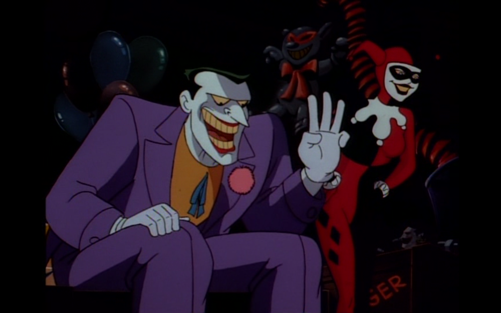 "Figure 4: In the Batman: the Animated Series episode ""The Joker's Favor"" Harley appears beside her boss. Photo credit: Warner Brothers Animation (DVD)."