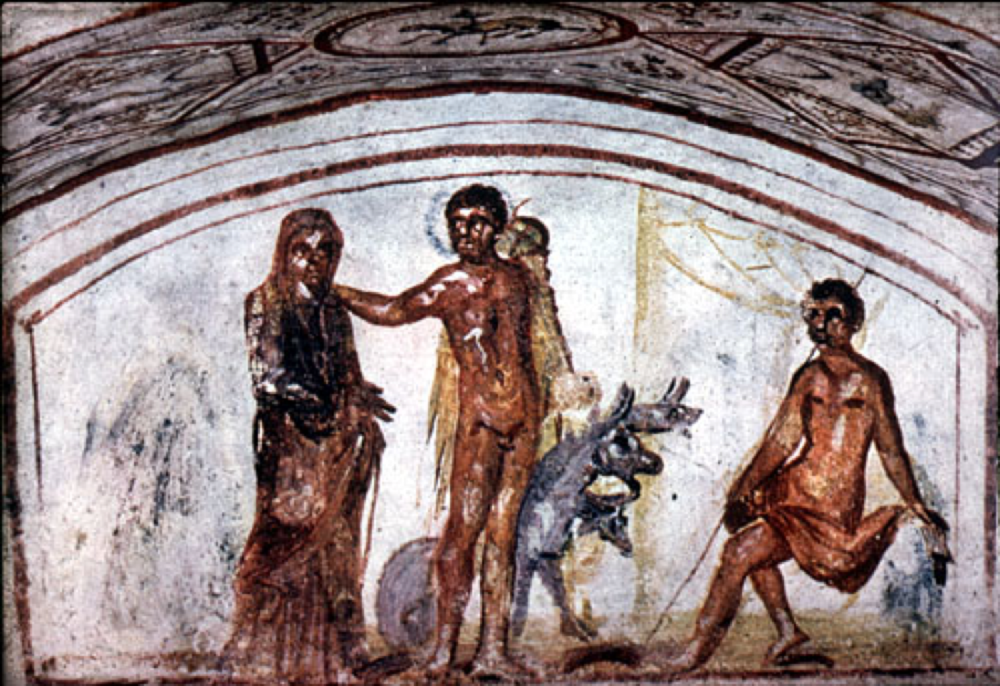 Figure 2: A fresco from a Christian catacomb in Rome, Italy from the 4th century AD depicts Hercules bringing back Alcestis and Cerberus from the underworld. This painting conflates two episodes of Hercules' career that would be especially appealing to Christian audiences, who thus would be able to fuse Hercules' descent and return from the underworld with Christ's. Image credit: ArtSTOR.