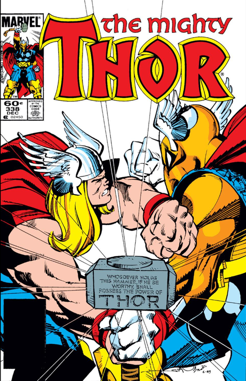 Figure 6: Thor and Beta Ray Bill fight over ownership of the magical hammer Mjolnir on the cover of 1983's The Mighty Thor #338. Image credit: screen grab of comic book (Marvel).