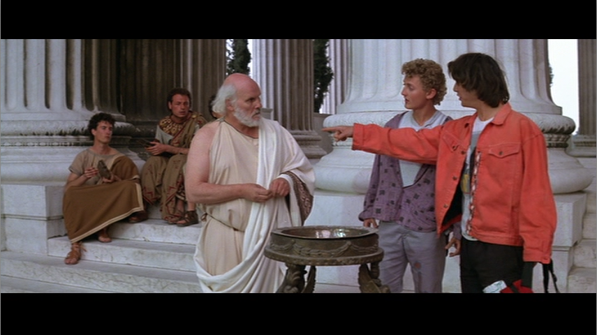 Bill and Ted confront the ancient Greek philosopher Socrates in  Bill and Ted's Excellent Adventure  (Herek 1989). The San Dimas duo's attempt to bring the past into dialogue with the present parallels what I'm trying to do in  Reboot the Past . Metro-Goldwyn-Mayer.
