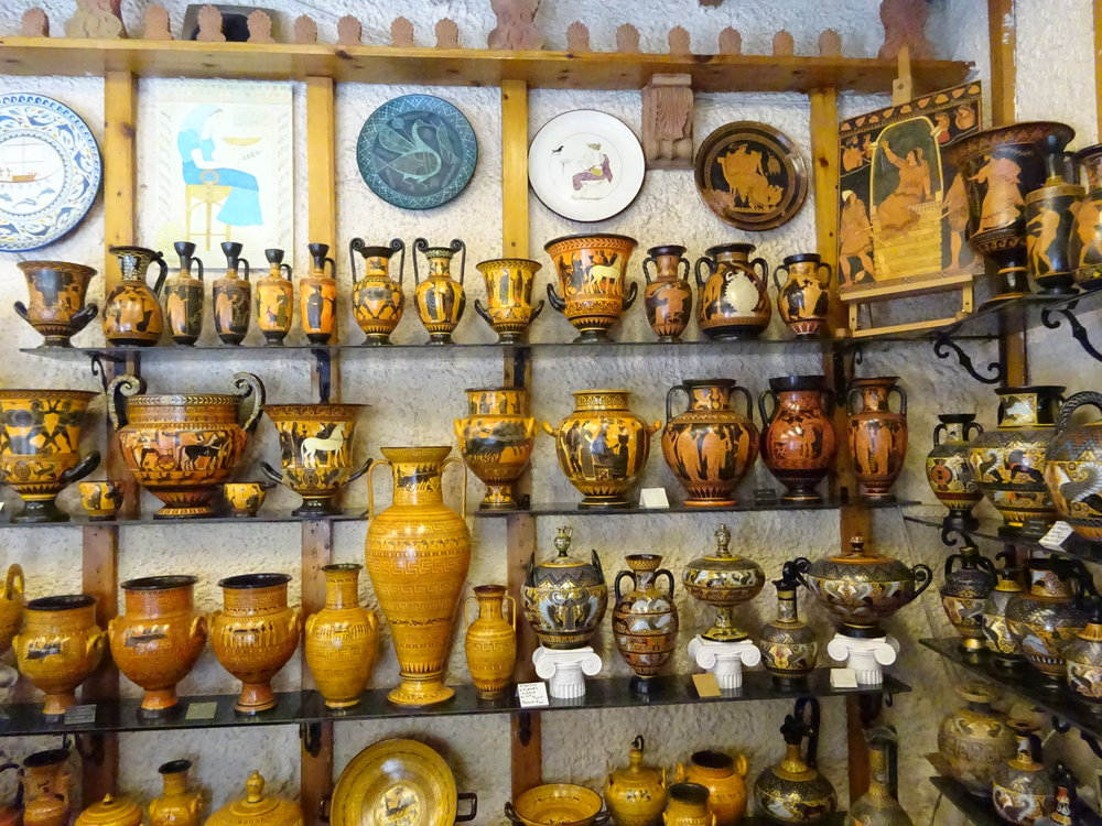 Figure 2: The wares of P. Michaylou's Amphora Ceramics Art store on Apollonos Street in Delphi, Greece.  Image credit: Vincent Tomasso.