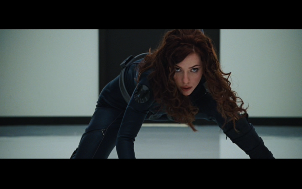 "Figure 3: The true identity of ""Natalie Rushman"" as Black Widow in  Iron Man 2 .   Photo credit: screen capture (Paramount Pictures/Marvel Studios)."