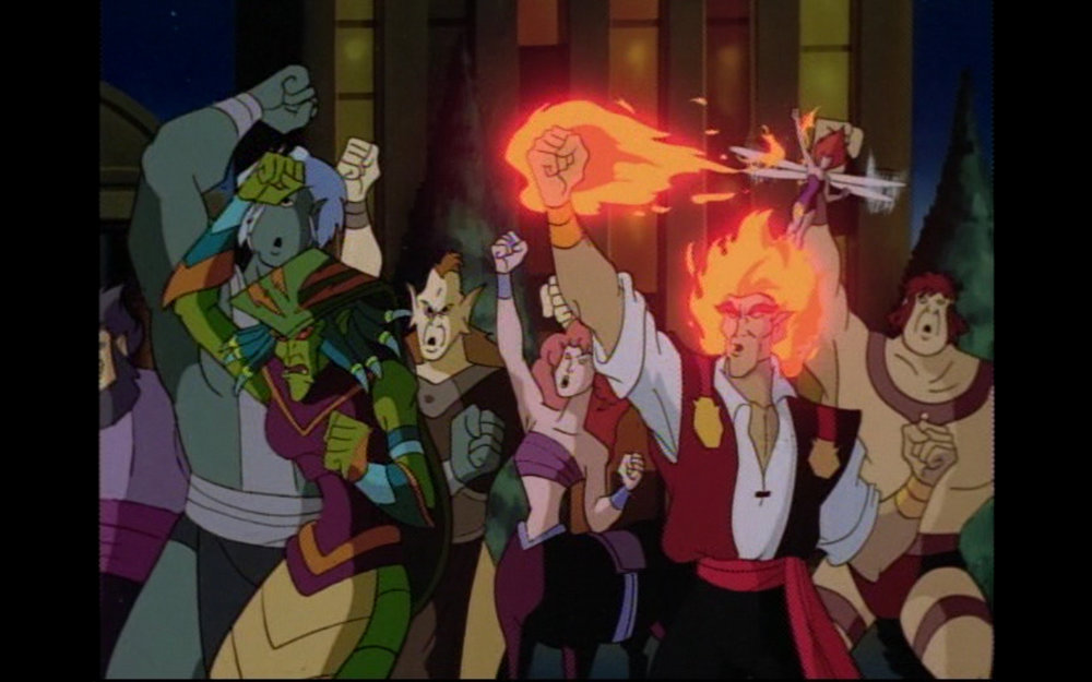 Figure 1: A mob of New Olympians gathers to protest Elisa's presence among them. Ekidna and Helios are visible in the foreground of this image, and in the background are a cyclops, a centaur, and a pixie (?!). Photo credit: screen capture (Buena Vista Television/Disney Television Animation).