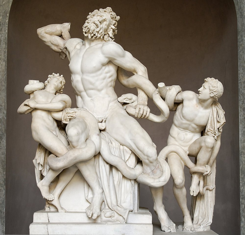 "Figure 2: Laocoön and his sons are strangled by a gods-sentserpent. When Renaissance Italians discovered this statue, they reportedly summoned Michelangelo to restore it. The master replied that he couldn't possibly improve on such perfection--and then shouted, ""Pizza time!"""