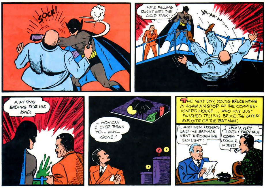"Figure 1: ""A fitting end for his kind."" In Batman's first appearance in  Detective Comics  #27, the masked vigilante's behavior owes more to his pulp noir roots than his later ""no kill"" image does."