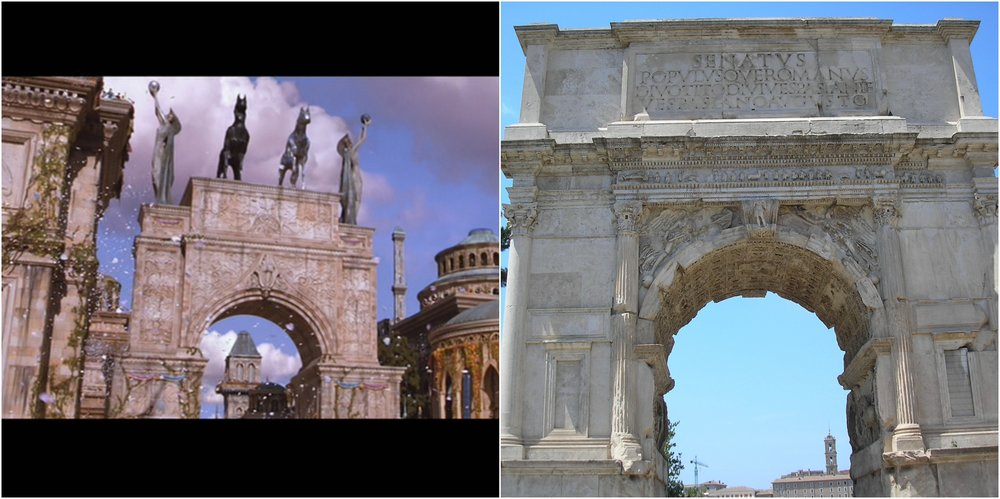 Figure 5: The arch outside the palace of Naboo that appears at the end of The Phantom Menace (left) is a nod to Roman victory arches, such as the first-century A.D. Arch of Titus (right). Photo credits: Twentieth Century Fox (DVD) and Vincent Tomasso.