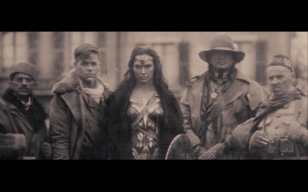 FIgure 9: a mysterious photo glimpsed in Batman v Superman hints at Wonder Woman's involvement in World War I. Photo credit: screen capture (Warner Brothers/Atlas Entertainment).