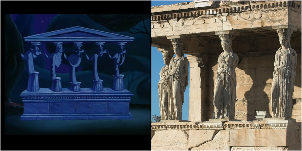 Figure 1: The Muses-cum-Caryatids appear on the left, with the source of the allusion, the Erechtheum's Caryatid Porch, on the right.