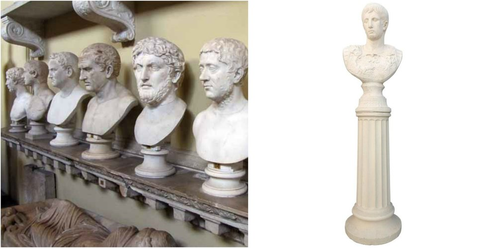 Figure 3: On the left is a row of typical Roman busts in the Vatican Museum. On the right is a typical neoclassical piece, with a bust of Julius Caesar sitting atop a column. The latter was created in the 1950s.