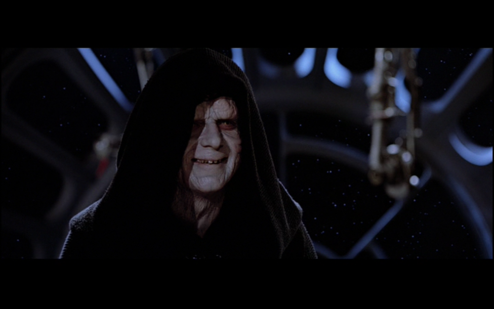 Figure 3: Emperor Palpatine, whom George Lucas has said represented Richard Nixon in his own mind, chuckles at Luke Skywalker's faith in his friends. Image credit: screen capture from Return of the Jedi (20th century Fox/Lucasfilm).