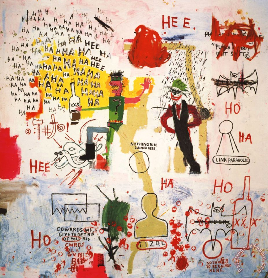 Figure 1: A close-up of Basquiat's 1987 painting  Riddle Me This, Batman .