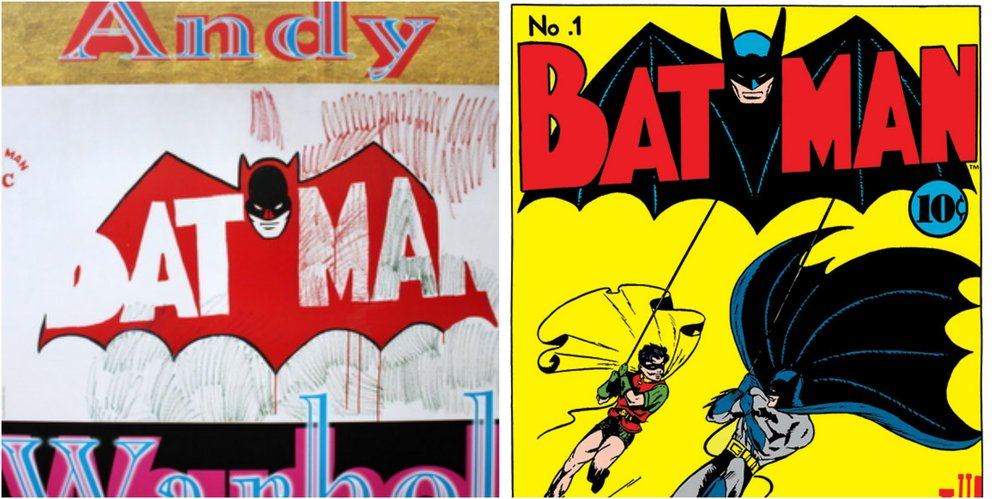 Figure 4: A promotional image for the 1964 film  Batman   Dracula  on the left and the cover for the 1940  Batman  #1 on the right.