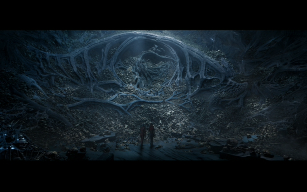 Figure 3:  Gamora and Nebula stumble across piles of skeletons of Ego's children under his planet's surface.