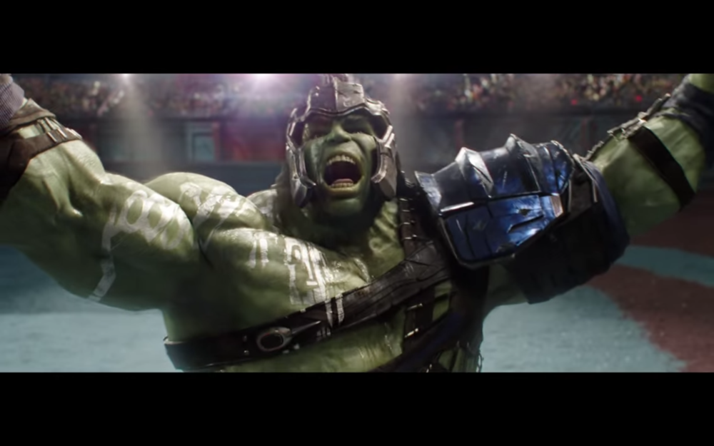 Figure 4: Hulk basks in the glow of the crowd's adoration in  Thor: Ragnarok .