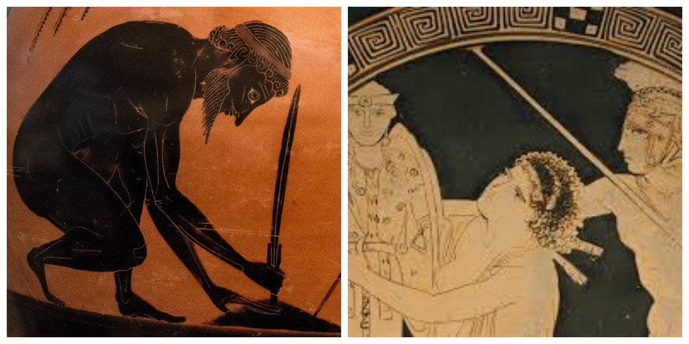 """Figure 4: On the left, Ajax prepares to commit suicide on an Attic amphora of the late sixth century BCE; on the right, little Ajax drags Cassandra away from an altar of Athena during the sack of Troy on an Attic cup from the late fifth century BCE"""""""