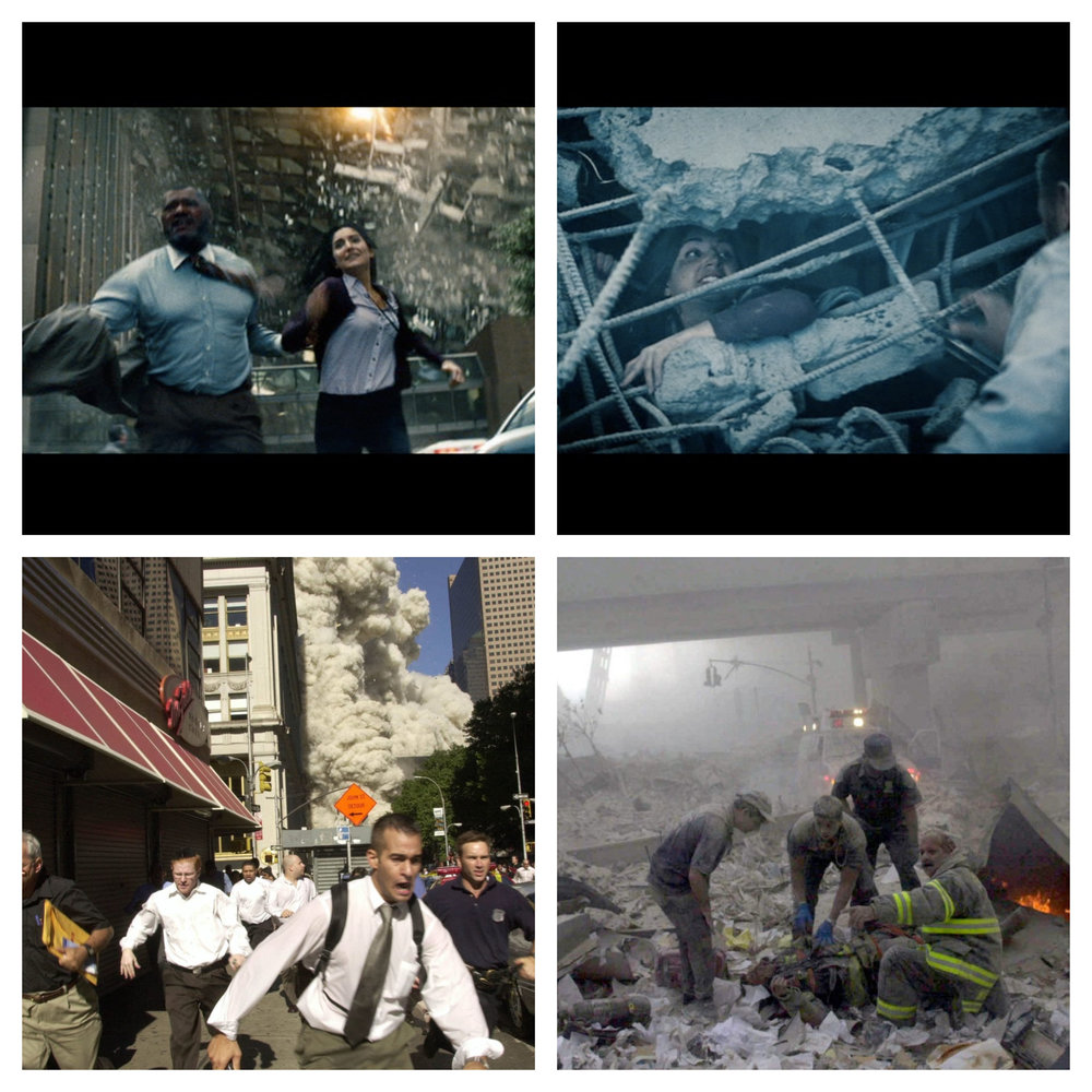 Figure 2: a) In the upper left image, Perry White and Jenny run as a building behind them collapses after Superman and Zod have smashed through it. Comparison: People run down an NYC street as a dust cloud rolls behind them. b) In the upper right image, Perry tries to rescue Jenny, who's been trapped in the rubble. Comparison: Rescue workers help a victim in the rubble. Note how the individuals in both images are covered in dust.